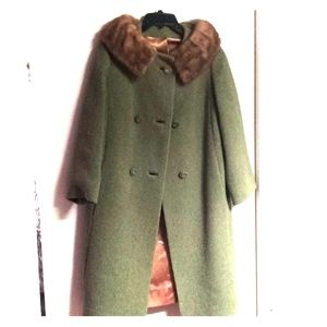 VTG 1950s Wool Coat w Mink Collar MINT